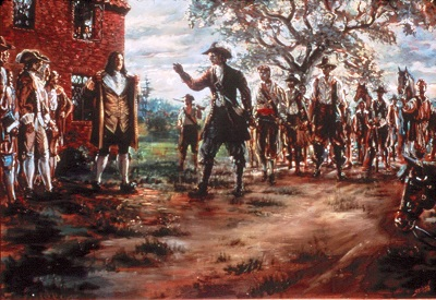 Nathaniel Bacon confronts Gov. William Berkeley in June 1676