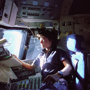 Sally Ride inside of the Space Shuttle Challenger