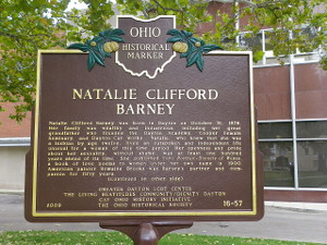 A brown Ohio Historical Marker for Natalie Clifford Barney