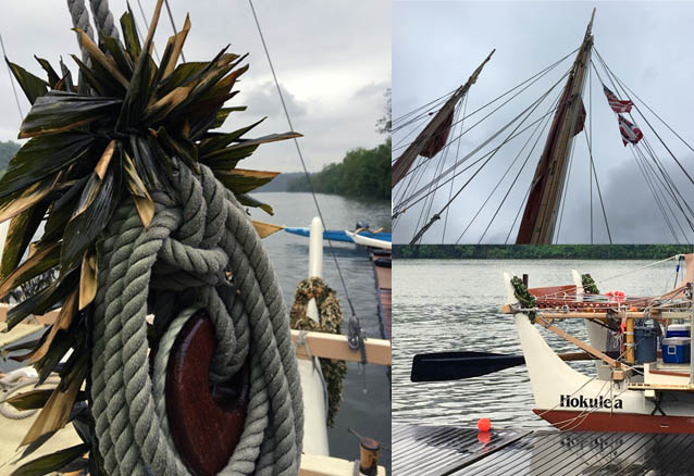 Composite photo shows rope decorated with Maile lei, nautical flags and partial view of Hōkūleʻa.