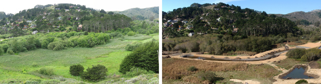 Images of lower Redwood Creek before (left) and during restoration