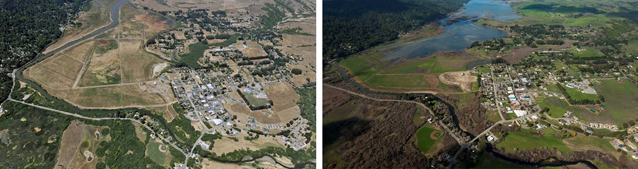 Aerial views of Lagunitas Creek and the Giacomini Dairy Ranch before and after restoration