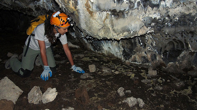 a Mosaics in Science program participant, conducts field work at Lava Beds National Monument