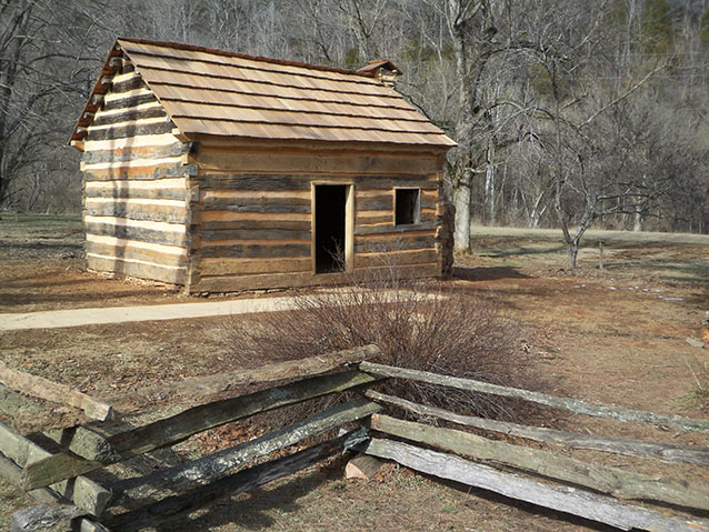 Restored log cabin at Abraham Lincoln Boyhood Home (NPS)