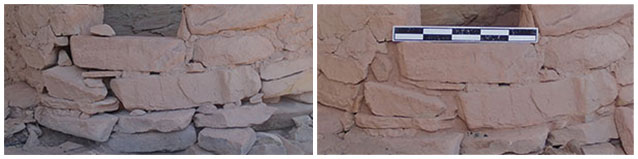 two photos showing a wall before and after it was stabilized