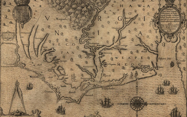 John White map of the Outer Banks showing Roanoke Island, sea monsters etc.