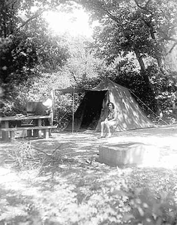 Early park outing at Rock Creek Campground, 1953 (Rock Creek Campground: CLI, NPS, 2007)