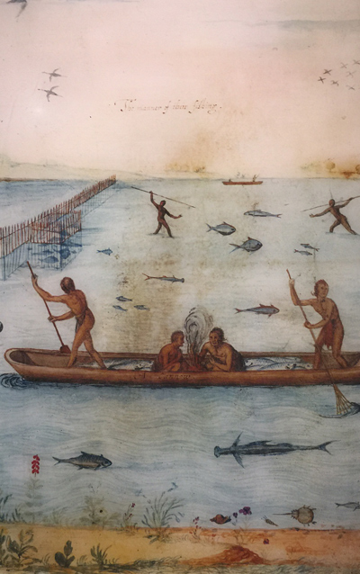 John White depiction of Algonquian with weirs, spearfishing, and canoeing