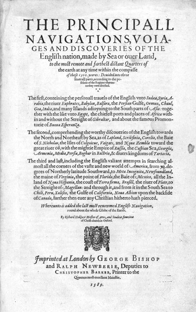 "Title page of Richard Hakluyt's ""Principall Navigations"", 1589"