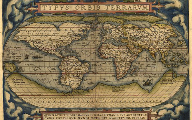 "World map from Abraham Ortelius's ""Theatrum Orbis Terrarum"", 1570- in color"