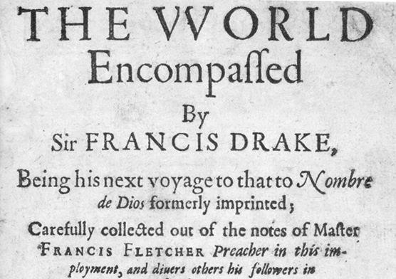 "Portion of title page of ""The World Encompassed by Sir Francis Drake"", London 1628"