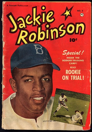 Magazine headline with picture of Jackie Robinson