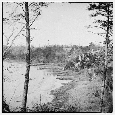View of sandstone cliffs from Appomattox River (unknown date)