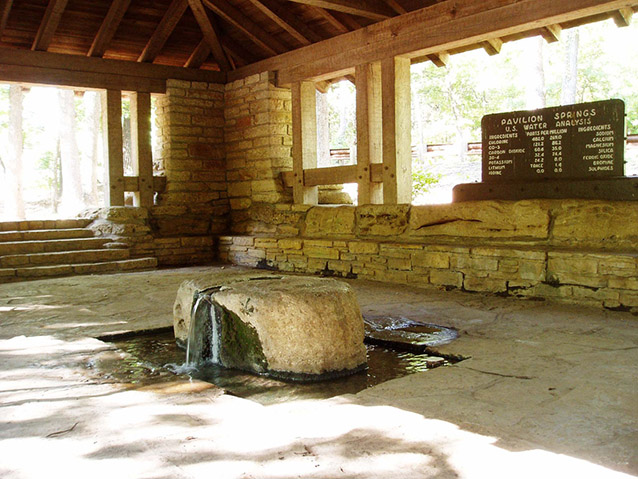 Interior of Pavilion Springs (K. Ruhnke, NPS)