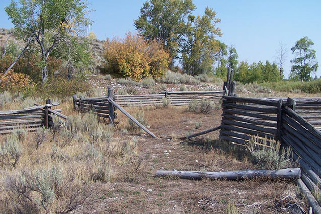 Wooden corral fence in a landscape of low vegetation