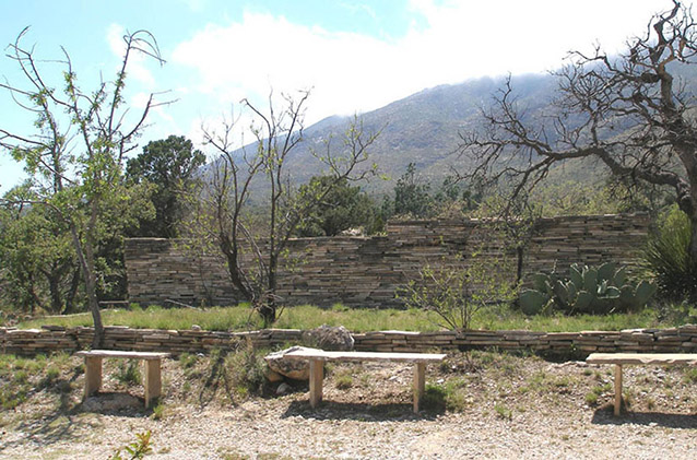 Stone benches prevalent through landscape, 2007 (NPS)
