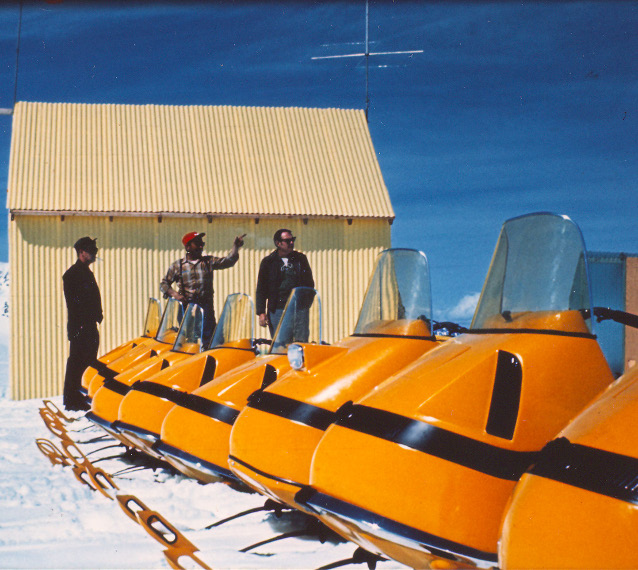 Harding Ice Cap warming hut and Ski-Doo line-up, 1970.