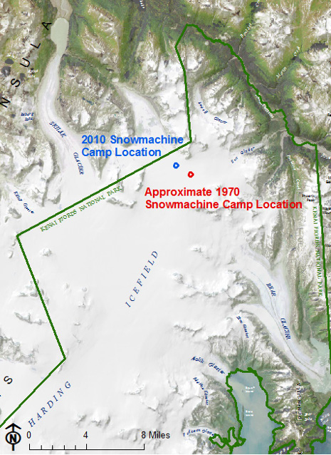 Original (1970) and current location of the snowmachine camp on the Harding Icefield.