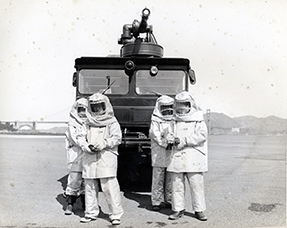 historic image with full proximity suits