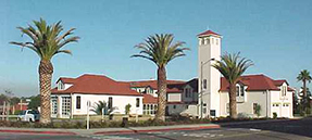 Exterior view of Presidio Fire Station with palm trees