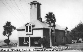 historic black and white image of the Presidio Fire Station in 1929.