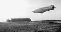 A K-type blimp landing at Lakehurst Naval Air Station
