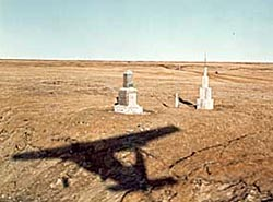 Two monuments mark the Roger-Post Site