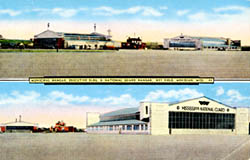 Historic postcard of Terminal Building and Hangar