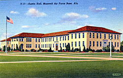 Historic postcard of Building 800--Austin Hall