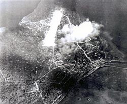 Orote Airfield during American bombardment
