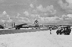 The Enola Gay returning to Tinian after strike at Hiroshima