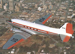 View of the Douglas DC-3, N34 in flight