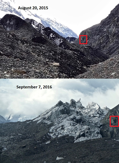 repeat photos of the traleika glacier shows a significant difference over the course of a year
