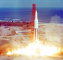 Saturn [SA-3] lifting off from Launch Complex 34