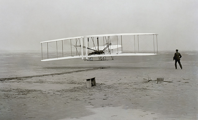 Historic Photo of Wright Brothers First Flight