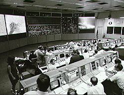 View of Mission Control during lunar surface Apollo 11