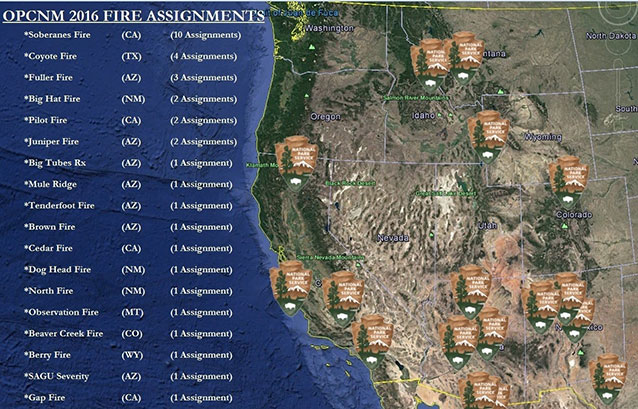 Map of Organ Pipe Cactus National Monument incident assignments in 2016
