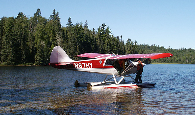 Float plane on the water