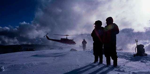 Search and rescue helicopter in the winter at Yosemite National Park