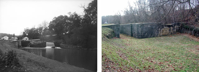 Two photos compare views of a lock over time; one shows water, one filled in with grass.