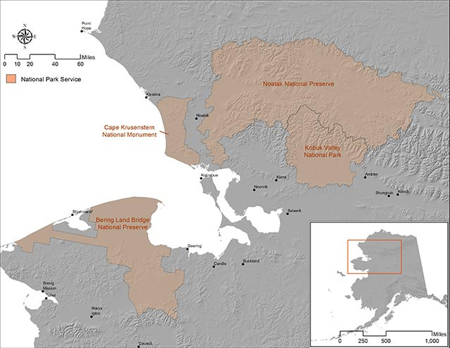 a map of northwest alaska showing numerous large areas of national parkland