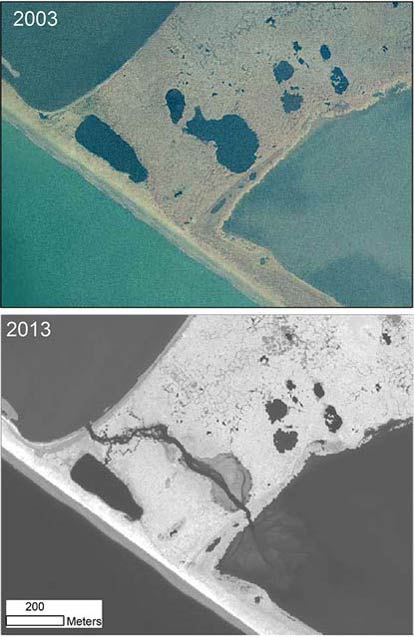 comparative satellite photos of a bay showing seawater encroaching into a lagoon
