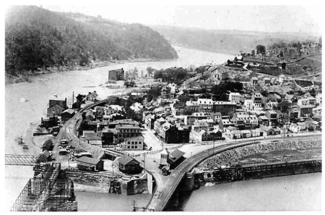 Historic image of Harpers Ferry town from across railroad bridge, between two rivers