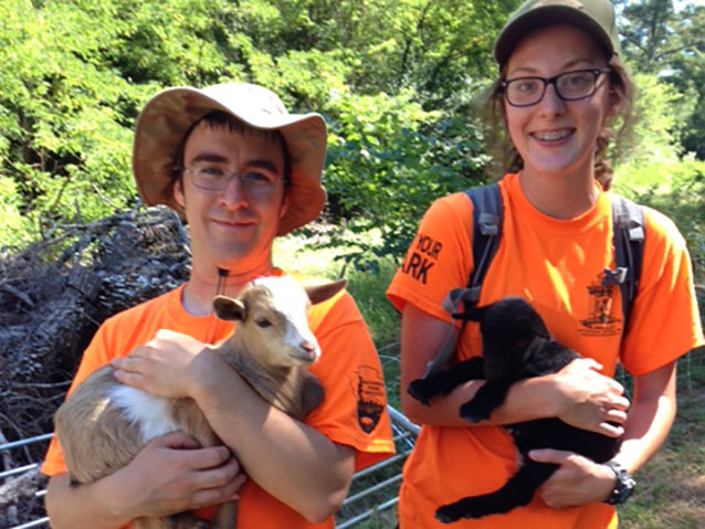 Interns holding baby goats