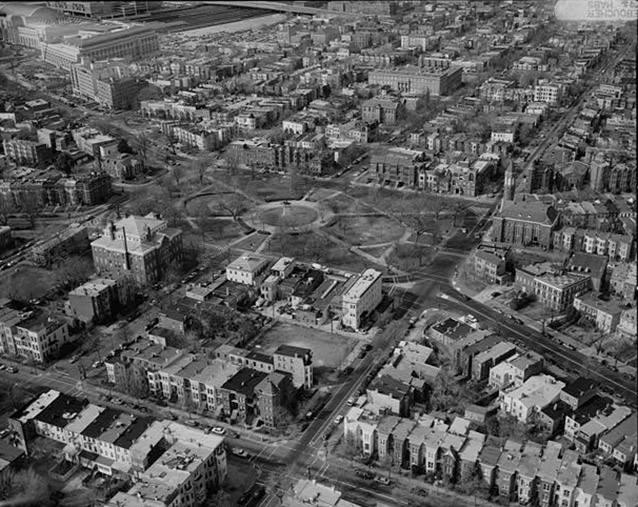 Black and white aerial view of Stanton Park, looking northwest