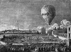 Illustration of the Montgolfier balloon flight in 1783