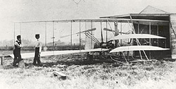 Wilbur and Orville Wright with the Flyer II at Huffman Prairie