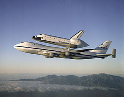 Space Shuttle Atlantis atop the Shuttle Carrier Aircraft
