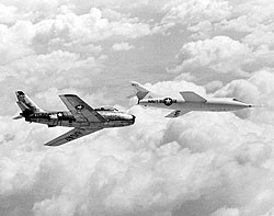 Douglas D-558-2 and the North American F-86 Sabre chase aircraft in flight