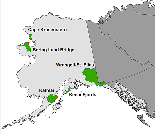 map of alaska with several national parks highlighted in green
